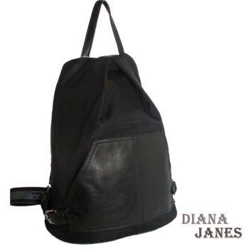 背包【Diana Janes 黛安娜】韓版輕盈尼龍配皮防盜斜開口後背包