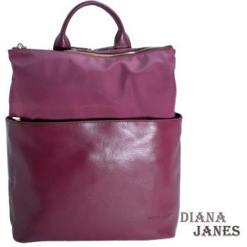 後背包【Diana Janes 黛安娜】韓版輕量都會時尚尼龍配皮商務後背包