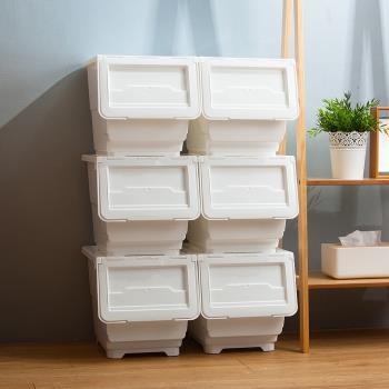 Mr.box  29大面寬典雅斜口上掀式可堆疊附輪加厚收納箱(33公升-6入組)-透明款 / 純白款