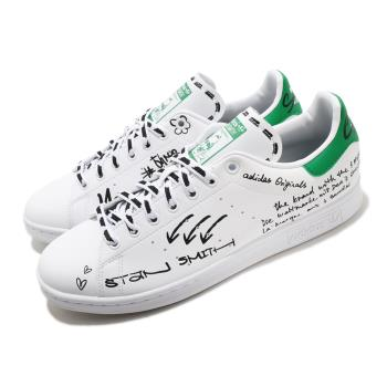 adidas 休閒鞋 Stan Smith 復古 低筒 男女鞋 愛迪達 三葉草 老人頭 皮革鞋面 穿搭 白 綠 GV9800 [ACS 跨運動]