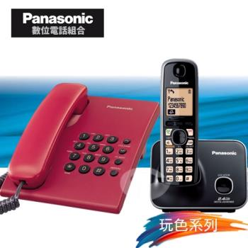 Panasonic 松下國際牌數位子母機電話組合 KX-TS500+KX-TG3711 (經典紅+經典黑)