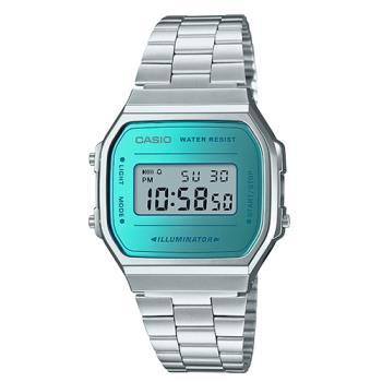 【CASIO 卡西歐】日系-時尚復古風銀色電子錶(A168WEM-2D)