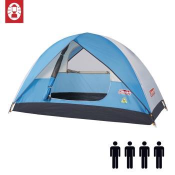 (美國 Coleman) Sundome Tent Cyan 日光浴4人帳篷 天藍色 登山 雙窗 透氣 防雨