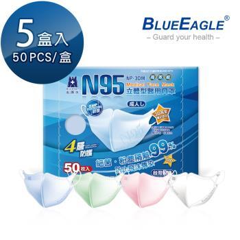 【藍鷹牌】立體型成人醫用口罩 50片x5盒