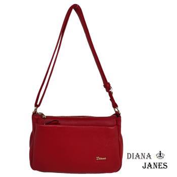 包【Diana Janes 黛安娜】真皮多袋方型斜揹包-紅