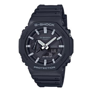 【CASIO 卡西歐】G-SHOCK 雙顯 男錶 橡膠錶帶 黑色 防水200米(GA-2100-1A)