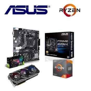 華碩3090組合STRIX RTX3090 O24G GAMING+ PRIME A520M-K/CSM*5+ R5-3600 *5