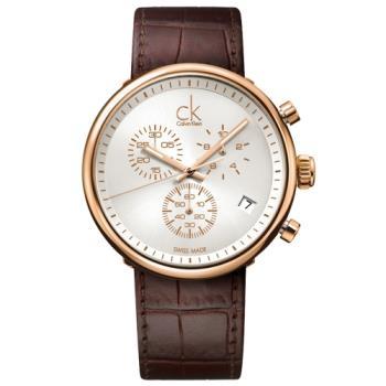 【瑞士 CK手錶 Calvin Klein】三眼計時紳士錶 皮革錶帶 礦物抗磨玻璃 日常生活防水(K2N286G6)