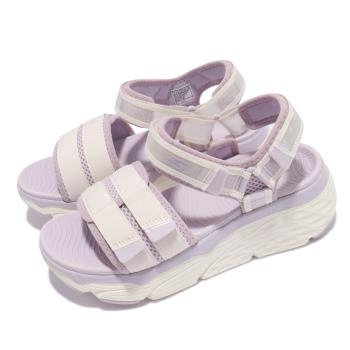 Skechers 涼鞋 Max Cushioning 女鞋 厚底 避震 緩衝 回彈 魔鬼氈 白 紫 140424WLV [ACS 跨運動]