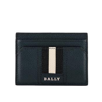 BALLY Thar 防刮牛皮黑白條紋卡片/名片夾(深藍色) 6218033 17