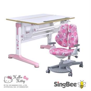 【SingBee 欣美】Hello Kitty-實木樺木氣壓桌+146雙背倚(兒童書桌椅/可升降桌椅/成長桌椅組/兒童桌椅組/台灣製)
