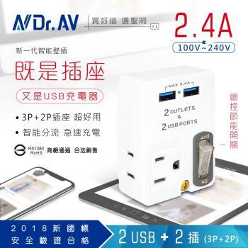 【N Dr.AV聖岡科技】PB-60U 2USB+2插節能分接插座 、插頭、充電器