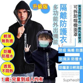 suprhealth 多功能可拆面罩機能隔離防護衣( 防飛沫 防撥水 防曬 超輕量 夏日輕薄升級款) 防疫 外套 面罩機能防護夾克