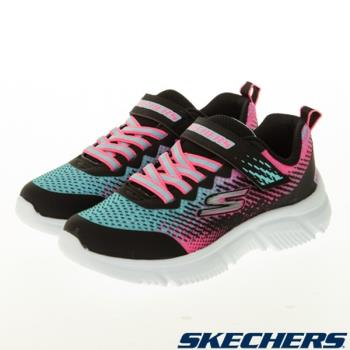 SKECHERS GORUN 童鞋 女童 慢跑 輕量 避震 透氣 網布 黑藍粉【運動世界】302430LBKMT