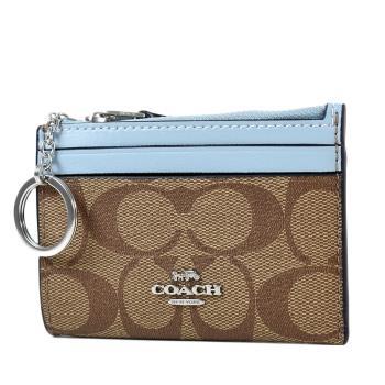 COACH 緹花LOGO防刮皮革證件鑰匙零錢包-粉藍