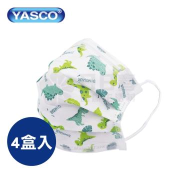 【4盒入】YASCO昭惠 醫用口罩 兒童平面口罩 小恐龍 (50入/盒) 雙鋼印 CNS14774 台灣製造