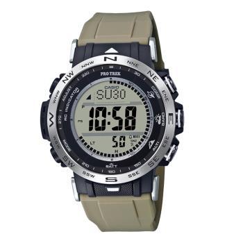 CASIO PRO TREK 系列太陽能數碼LCD無線電控攀山露營錶(PRW-30-5)-卡其x50mm