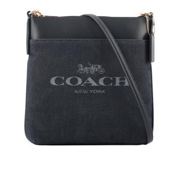 COACH 專櫃款平滑皮革拼牛仔布口袋斜背包(深藍色) C3967 GDDEN