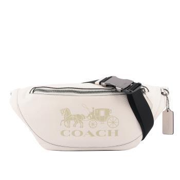 COACH Warren 荔枝皮革馬車圖案腰包(白色) C4137 QBCHK