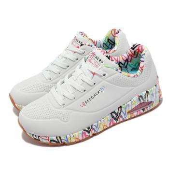 Skechers 休閒鞋 Uno Loving Love 聯名 女鞋 氣墊 Lovewall 支撐 緩衝 耐磨 白 多 155506-WHT