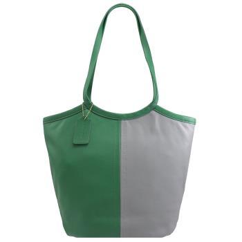 COACH C2594 Bea Tote 拼色牛皮素雅肩背包.灰/綠