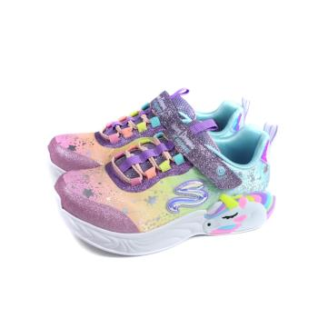 SKECHERS 運動鞋 電燈鞋 可開關 魔鬼氈 粉紫獨角獸漸層 童鞋 302311LPRMT no416