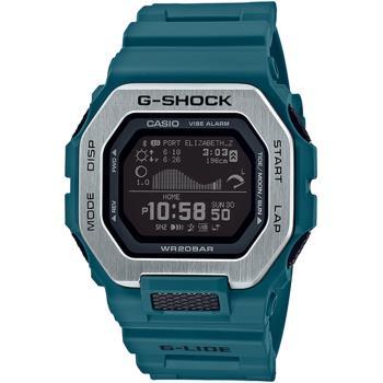 CASIO 卡西歐 G-SHOCK G-LIDE 極限衝浪藍牙智慧橡膠腕錶/藍綠/GBX-100-2
