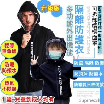 任選2件 親子多功能可拆面罩機能隔離防護衣( 防飛沫 防撥水 防曬 超輕量 夏日輕薄升級款) suprhealth 防疫 外套 面罩機能防護夾克