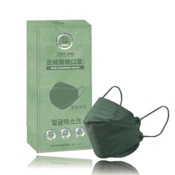 【丞威】韓版KF94成人4D醫療口罩 深抹茶綠 KF94 單片包裝/共10入