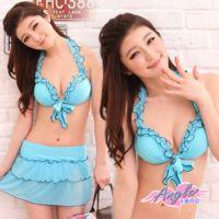 【天使霓裳】夏日芭比 三件式比基尼鋼圈泳衣(藍)-VA9150