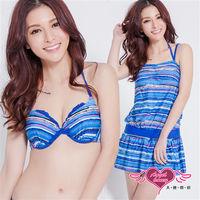【天使霓裳】抽象意景 三件式鋼圈比基尼泳裝 (藍)-SA83007