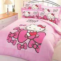 【享夢城堡】HELLO KITTY 蝴蝶結系列-雙人純棉三件式床包組