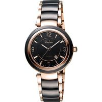 Diadem 黛亞登 都會女伶陶瓷腕錶-黑x玫塊金 8D1407-511RG-D