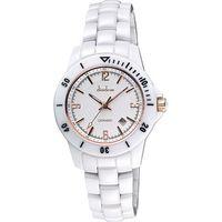 Diadem 黛亞登 菱格紋雅緻陶瓷腕錶-白x玫塊金時標 8D1407-551RG-W