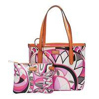 EMILIO PUCCI 經典幾何印花牛皮飾邊PVC子母購物包(小-粉紅-附萬用小袋)41BE20