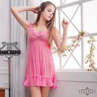大尺碼Annabery荷葉飾邊粉紅柔紗二件式睡衣