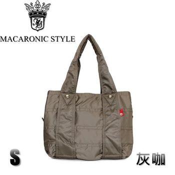 日本品牌 Macaronic Style 2Way 手提 肩側包 2用曼谷包(小)-灰咖