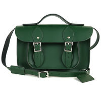 【The Leather Satchel Co.】11吋 英國手工牛皮可手提劍橋包 (郵差綠)