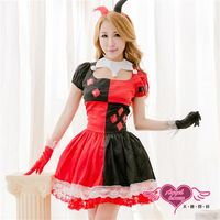 天使霓裳 小丑 馬戲狂想角色扮演服(紅黑F) -YC2041