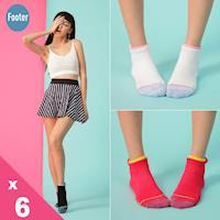 【Footer除臭襪】隨性塗鴉感輕壓力船短襪(T208)女款6雙入