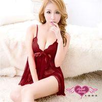 天使霓裳 性感睡衣 迷漾夢幻性感柔紗睡衣(棗紅) -CX168