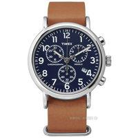 TIMEX 天美時/ TXT2P62300 / INDIGLO 美國復刻回憶三環計時真皮腕錶 深藍x駝 40mm