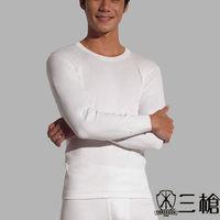 【三槍牌】精典時尚型男無螢光雙層純棉圓領長袖衛生衣2件組-8908