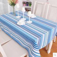 【協貿】時尚簡約休閒布藝棉麻地中海條紋餐桌布