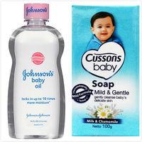 【美國 Johnsons 嬌生】嬰兒潤膚油-中性肌膚(14oz/414ml)*3+CUSSONS佳霜嬰兒香皂(100g)藍色*36