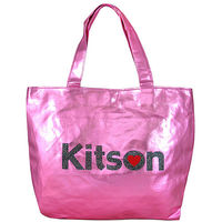 Kitson LA 粉色金屬珠光愛心托特包