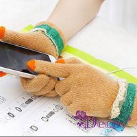 【Decoy】花邊蕾絲*觸控針織手套/膚色