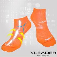 【LEADER】COOLMAX 運動專用薄型除臭機能襪 女款(亮橘)