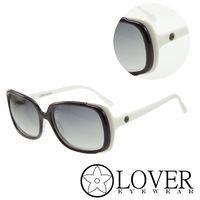【Lover】精品方框紫色白邊太陽眼鏡(9350-2)