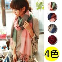 【I.Dear】韓系經典-彩色拼接大格子羊毛圍巾/披肩(4色)